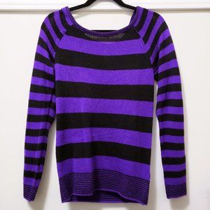 Purple and black striped sweater